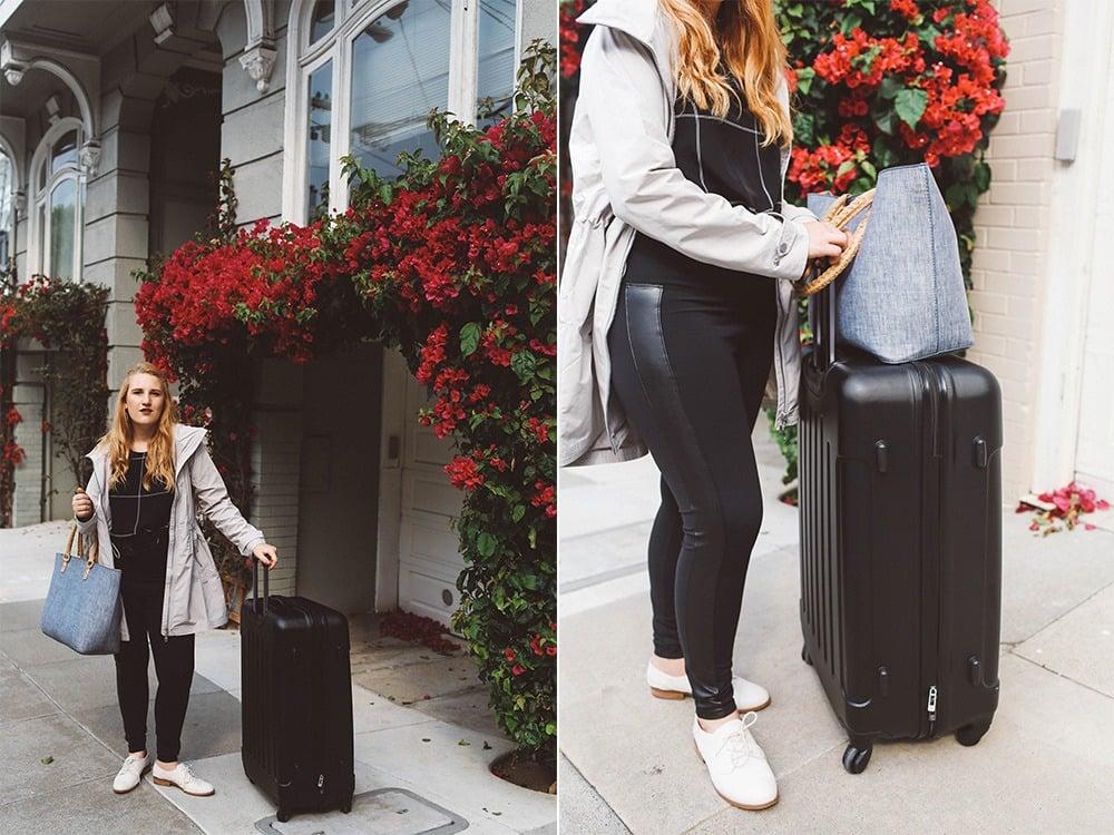 athleisure leggings suitecase travel