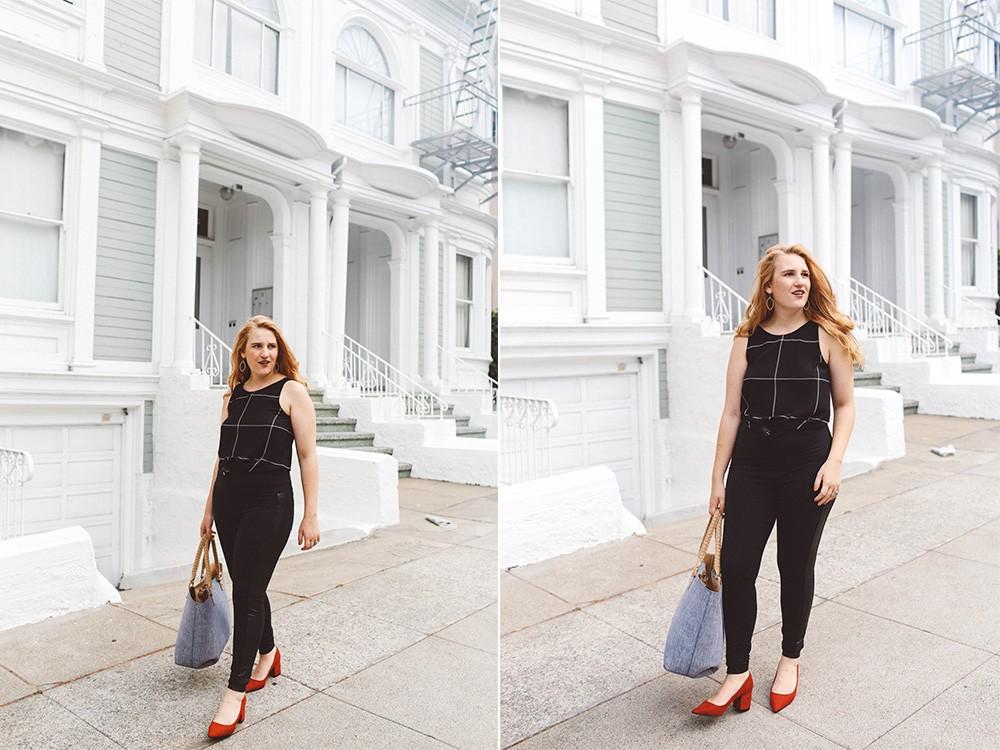 black leggings red heels