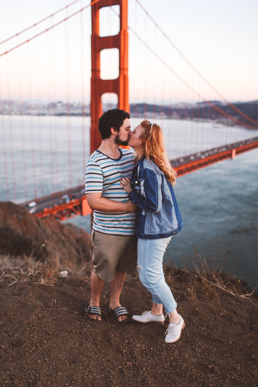 Couple Kissing Gate Bridge San Francisco