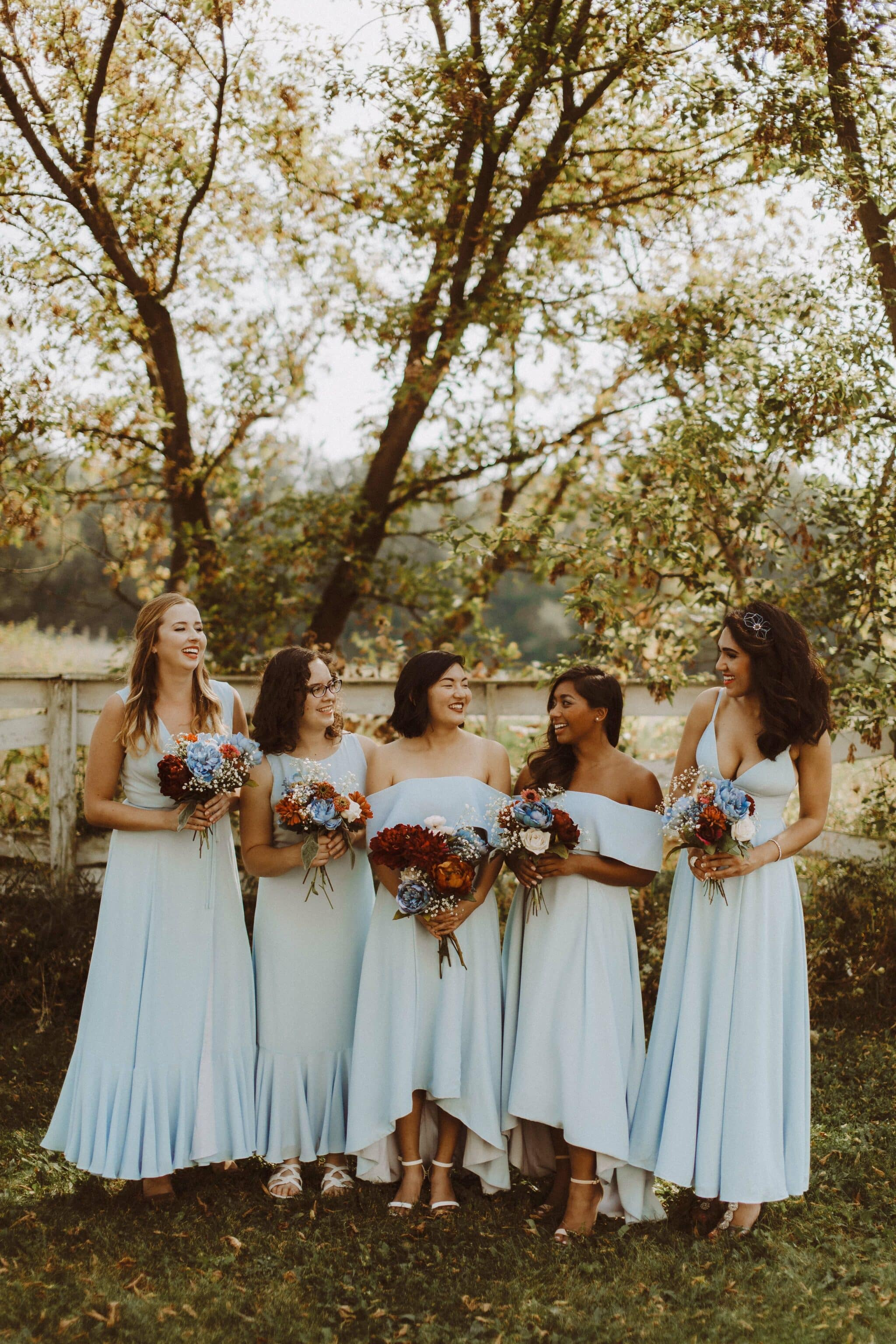 fame partners bridesmaid dress blue