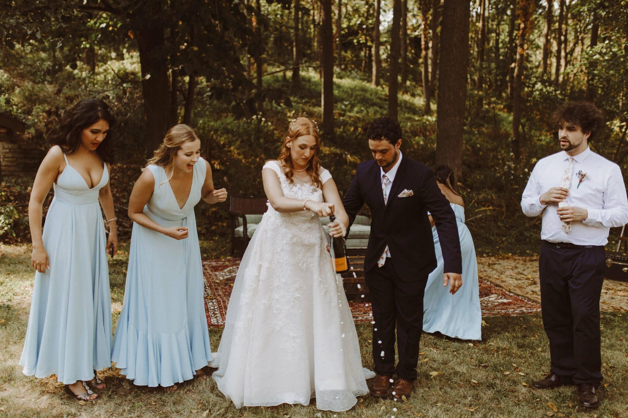 wedding bride groom champange
