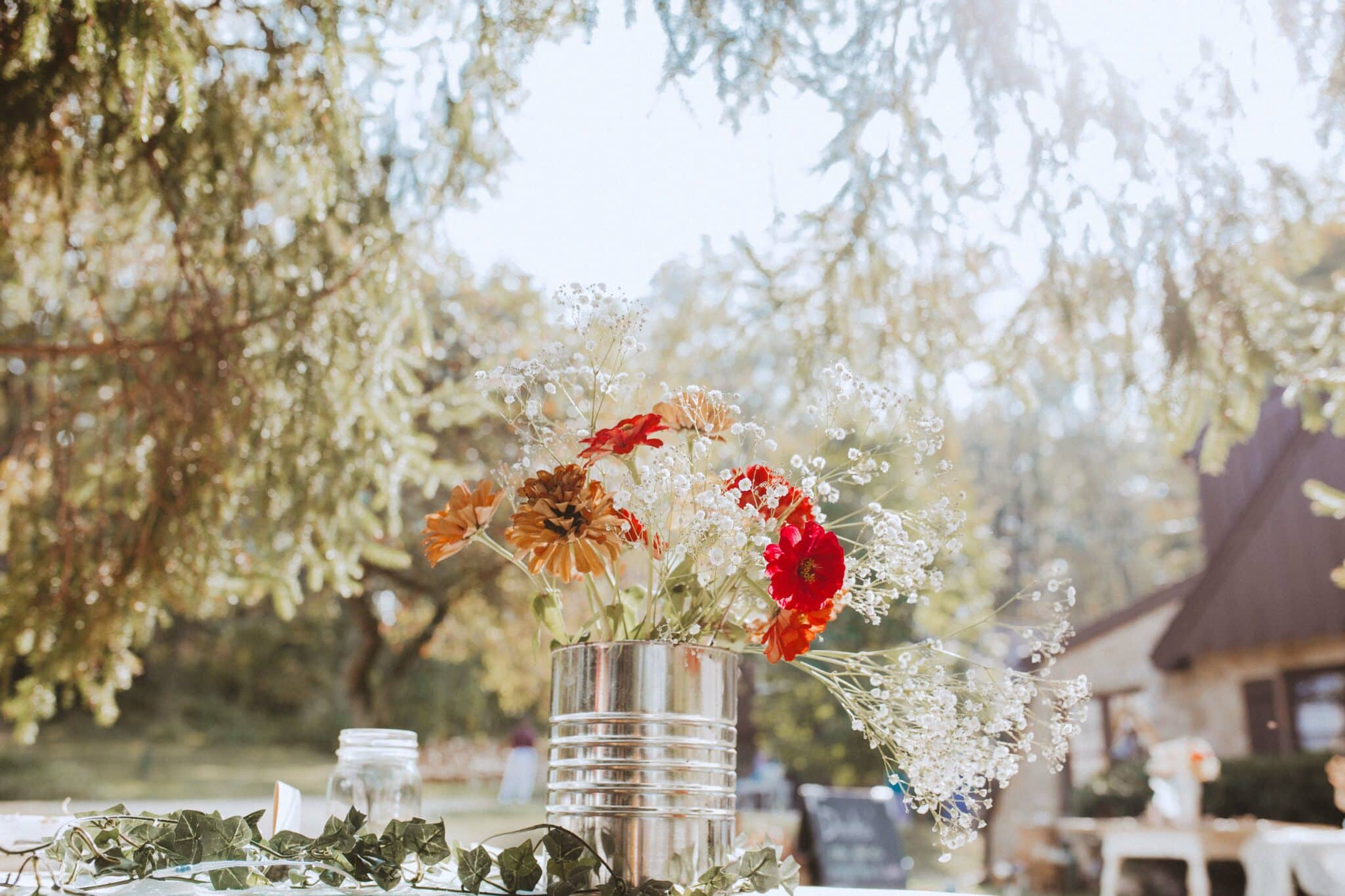 wedding outdoor flower table decor