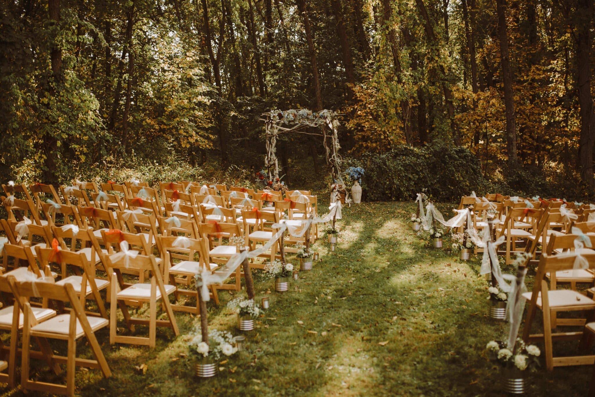boho wedding ceremony woods whimsical
