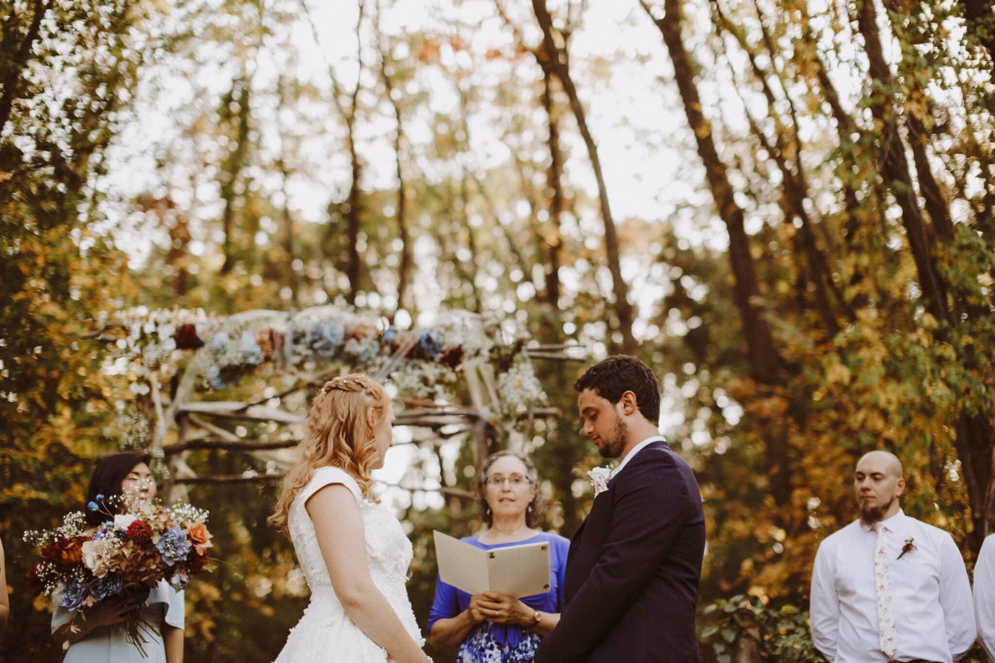 wedding woods golden hour boho