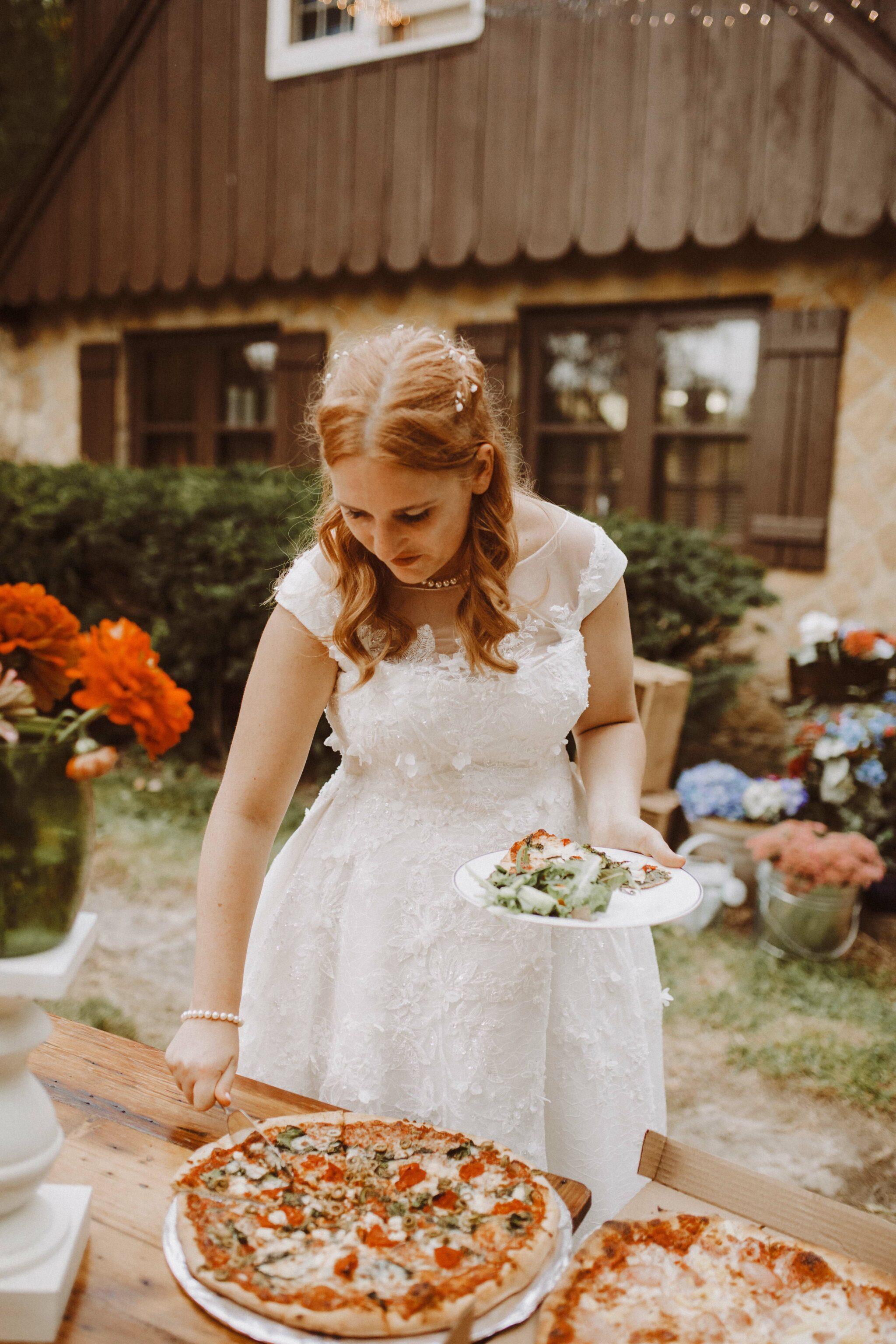 wedding bride pizza outdoor