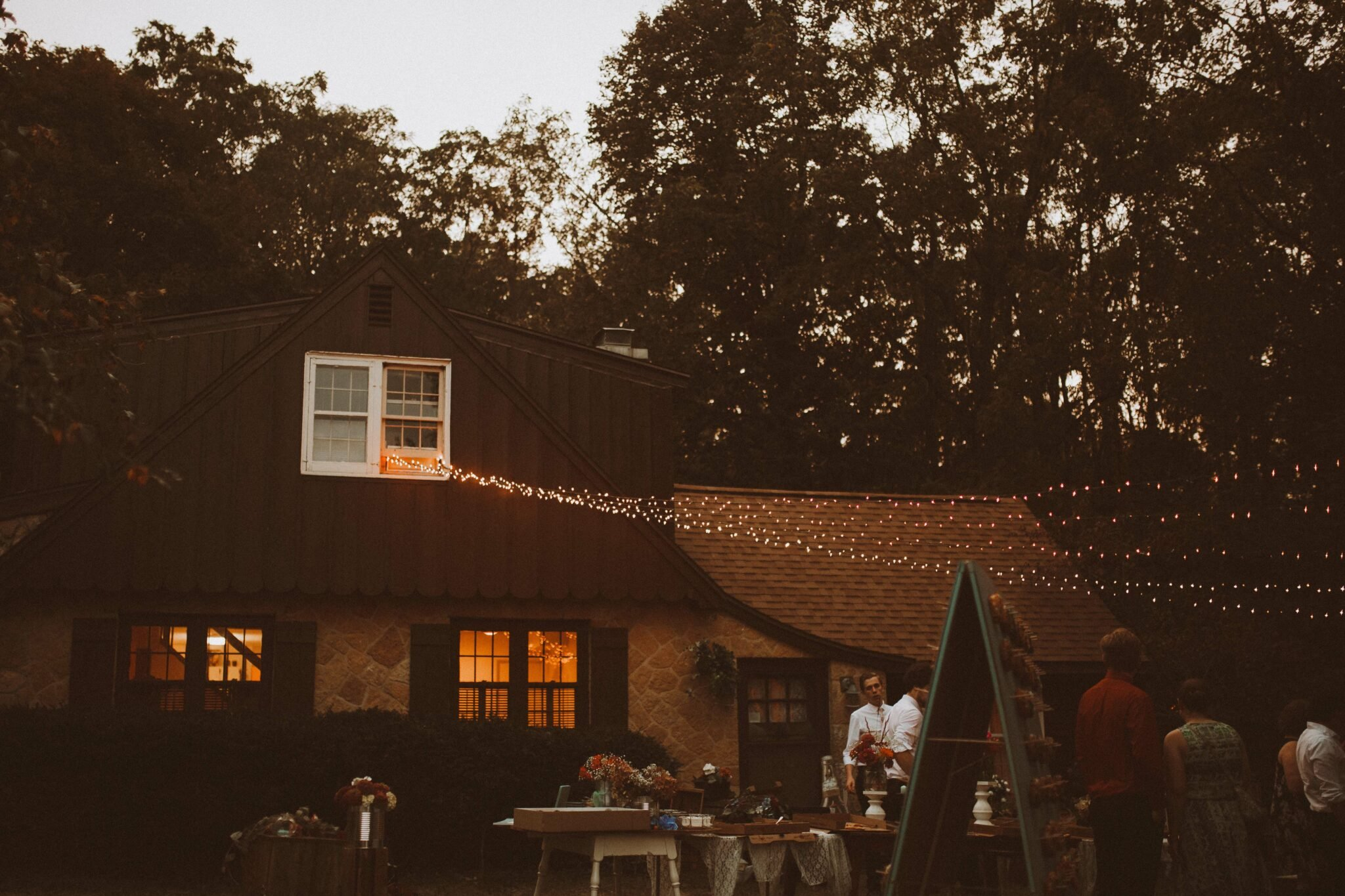 wedding backyard string lights woods