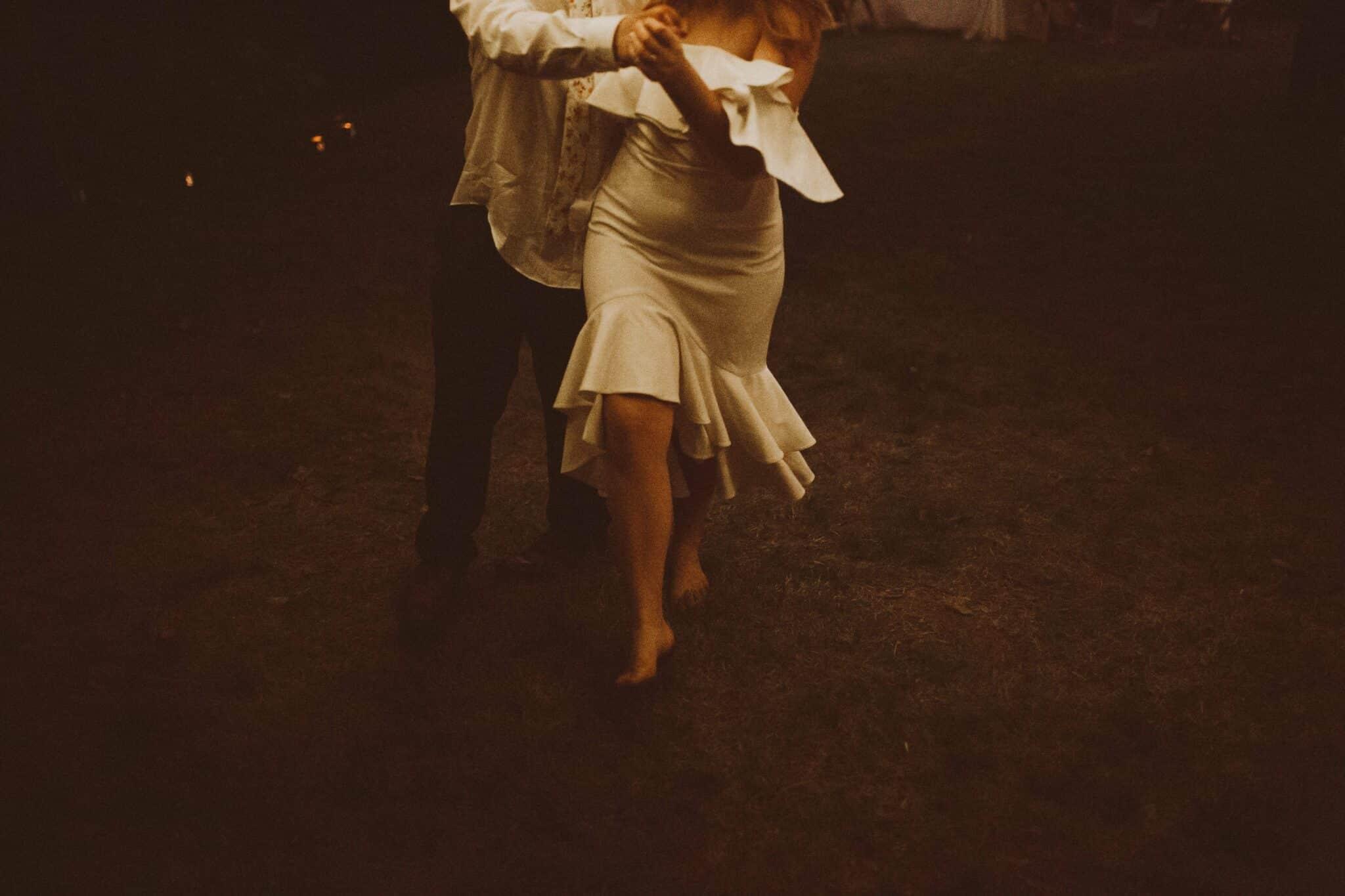 bride groom dancing barefoot