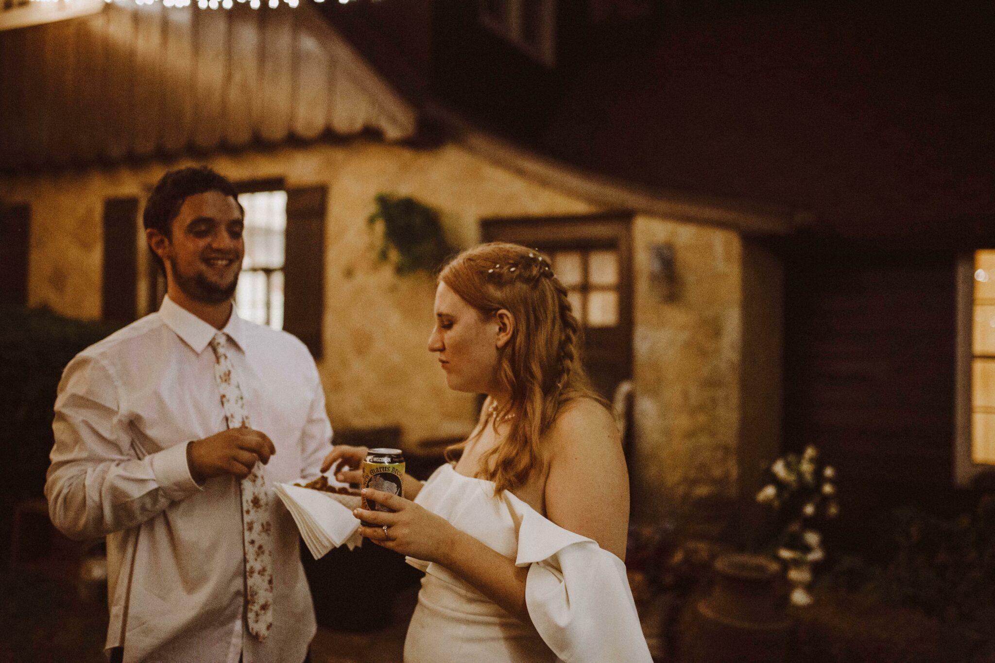 bride groom eating food truck