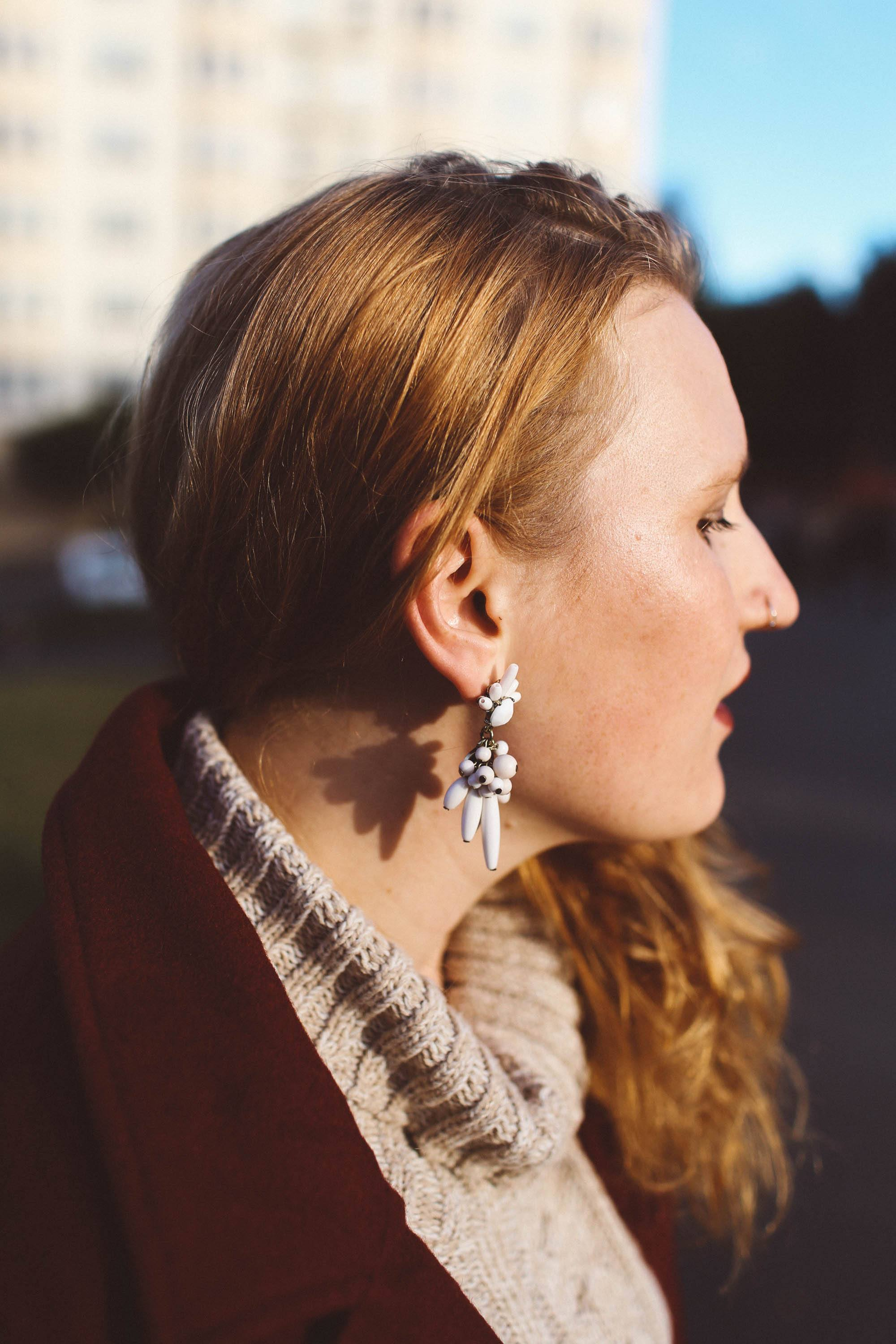 white statement earring